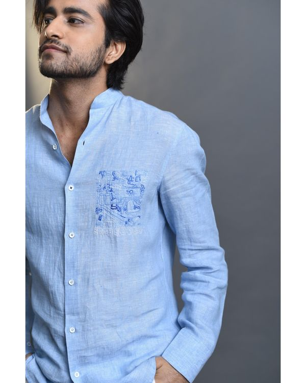 Sky blue embroidered shirt 1