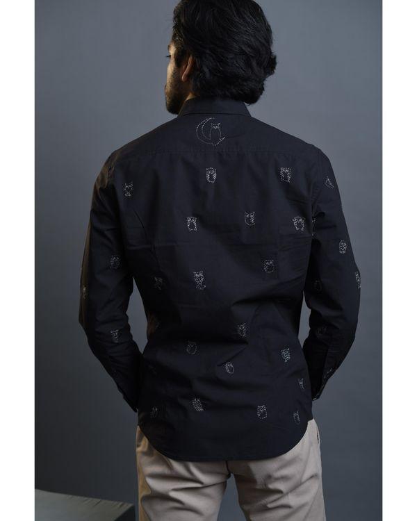 Black owl embroidered shirt 2