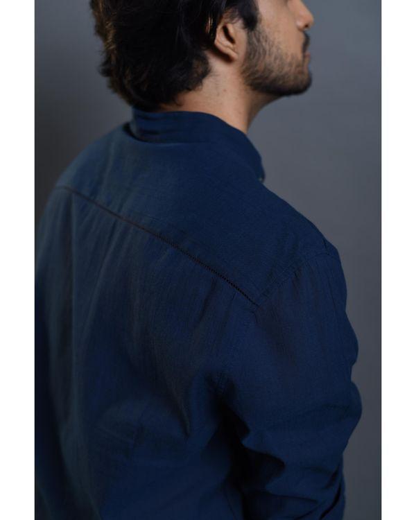 Blue pocket embroidered shirt 3