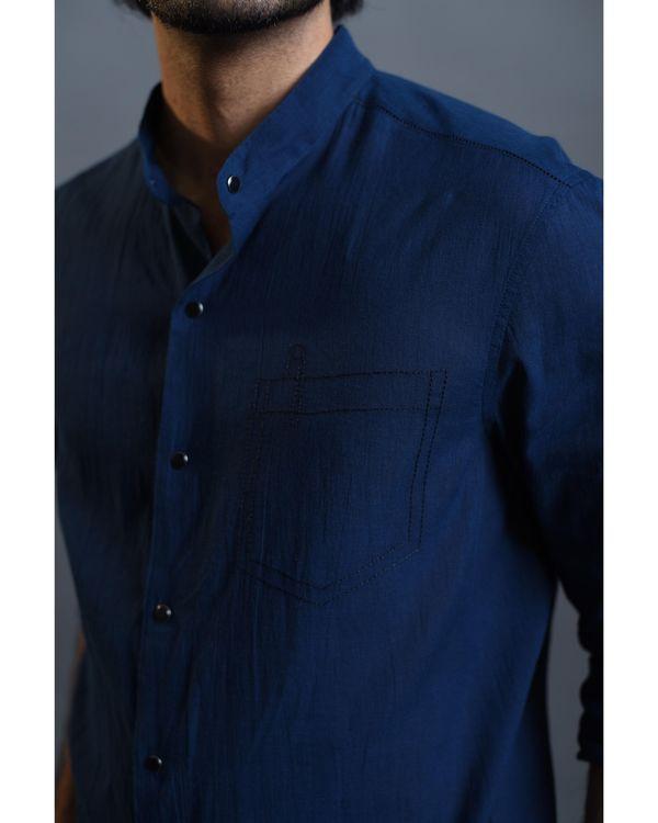 Blue pocket embroidered shirt 1