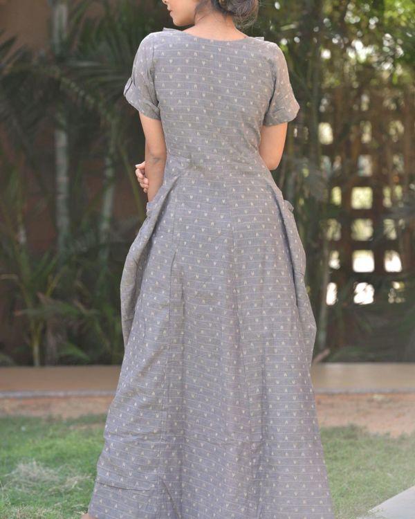 Grey printed cowl neck dress 2