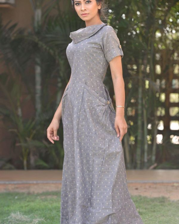 Grey printed cowl neck dress 1