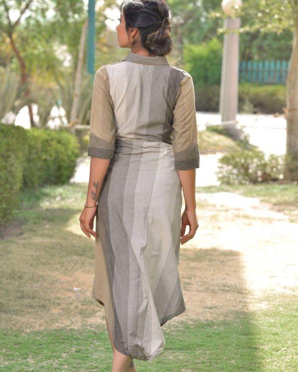 Grey and beige striped wrap around dress 2