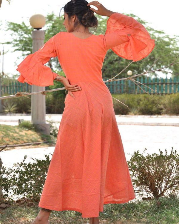 Peach checkered asymmetrical dress 3