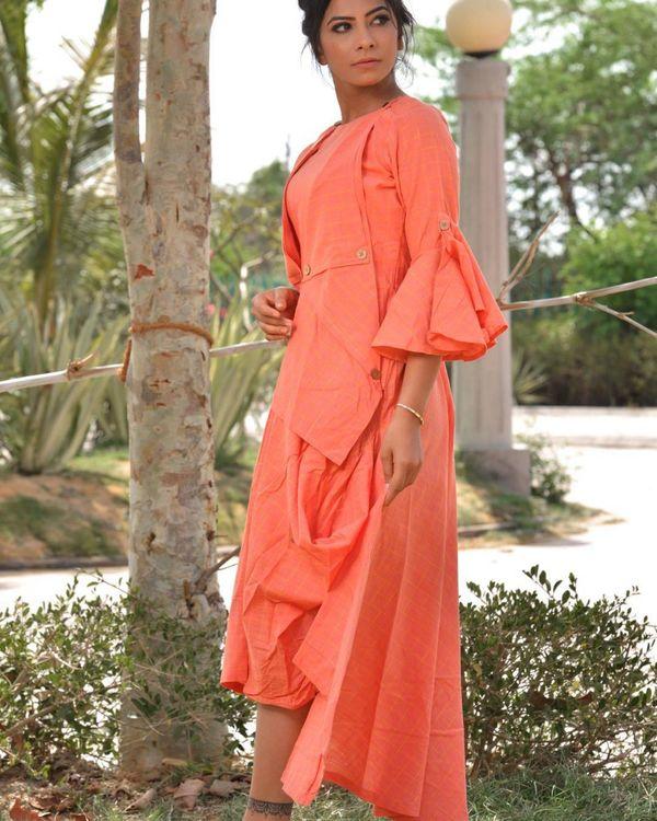 Peach checkered asymmetrical dress 2