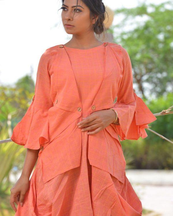 Peach checkered asymmetrical dress 1