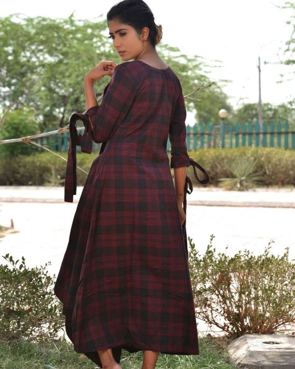 Black and maroon checkered dress 3