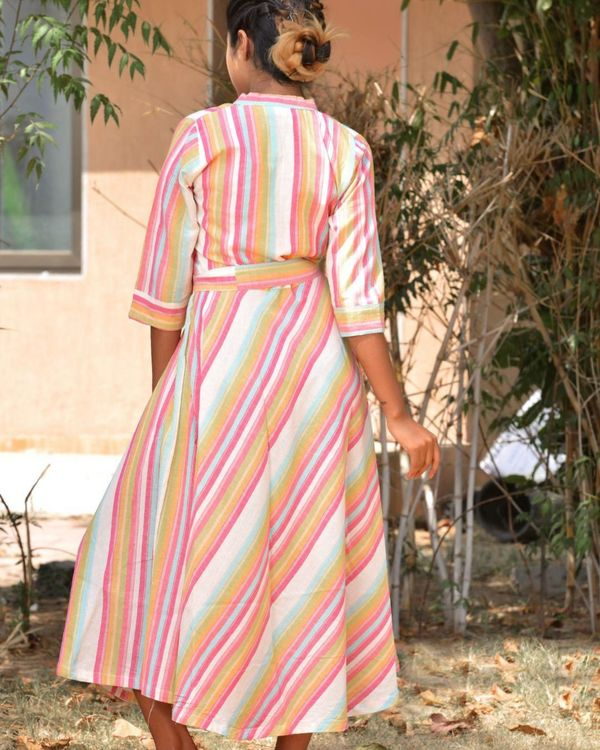 Multicolour striped midi dress 2