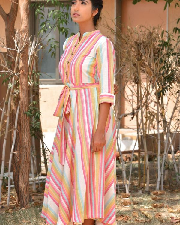 Multicolour striped midi dress 1