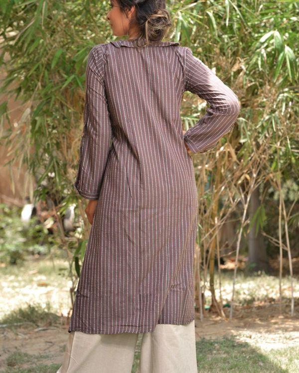 Grey striped high low kurta 3