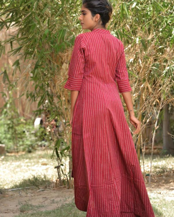 Red striped high low dress 3