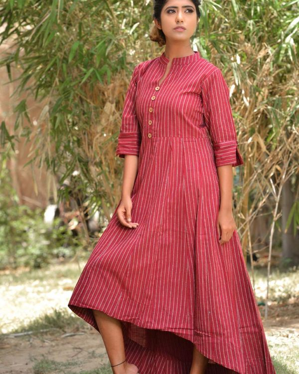 Red striped high low dress 2
