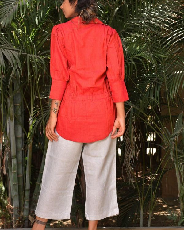 Scarlet red buttoned wrap top 3