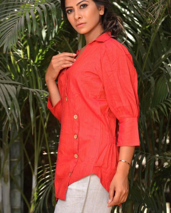 Scarlet red buttoned wrap top 1