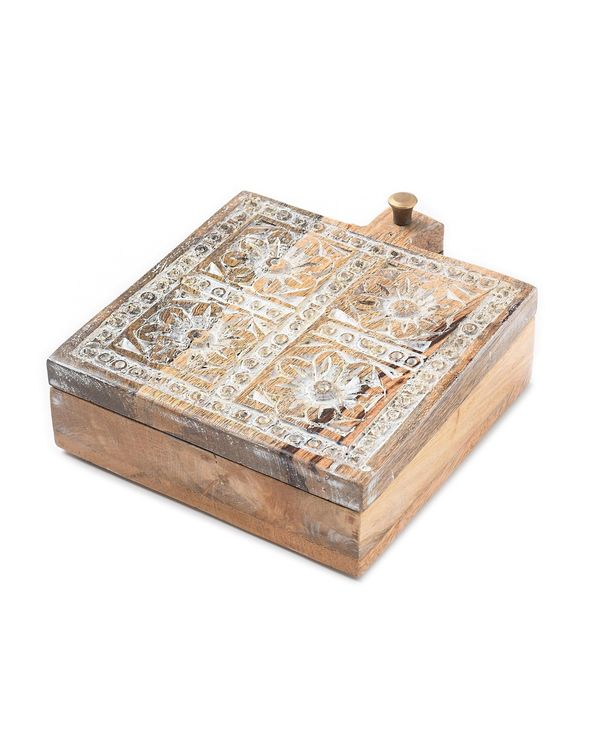 Square shaped carved wooden spice box 1