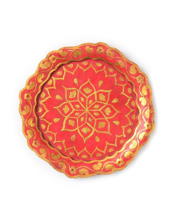 Red floral hand painted wooden tray 1