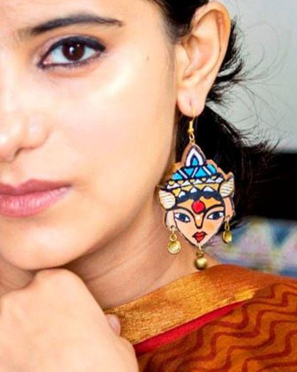 Deity motif terracotta dangler earring 1