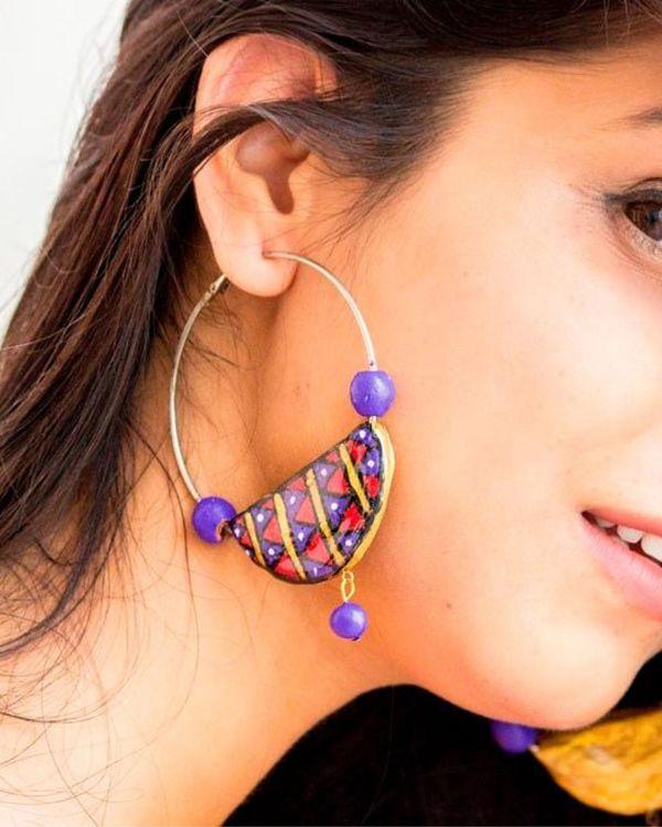 Boho terracotta hoop earring 1