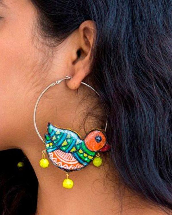 Bird motif terracotta hoop earring 1
