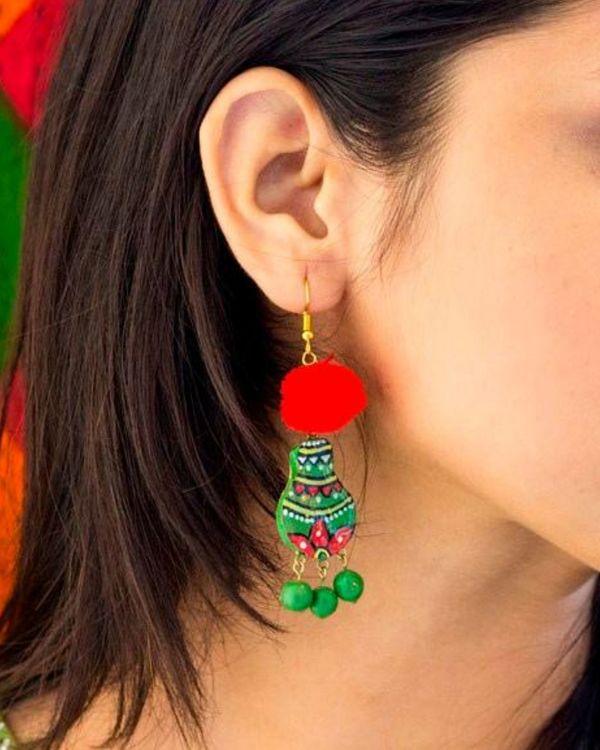 Green matki terracotta dangler earring with pom pom 1