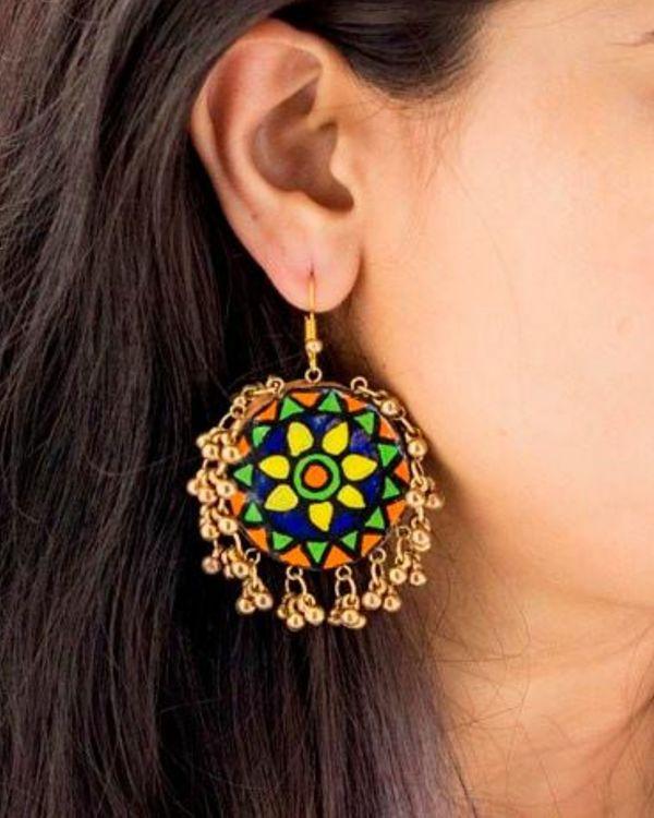 Flower motif ghunghroo earring 1