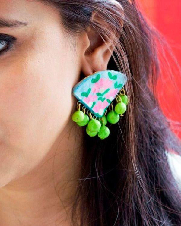 Flower hand painted trigon earring 1