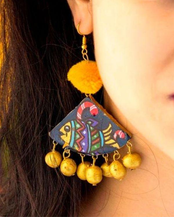 Fish motif hand painted trigon earring 1