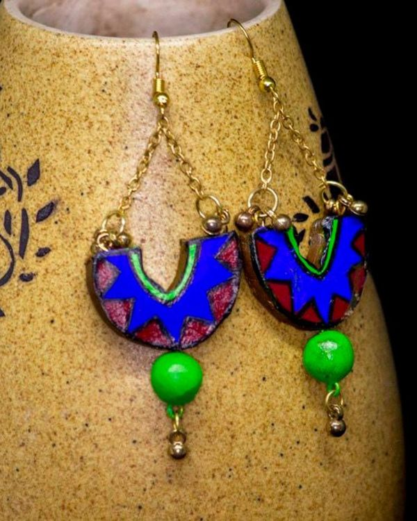 Blue hand painted dome shaped earring 2