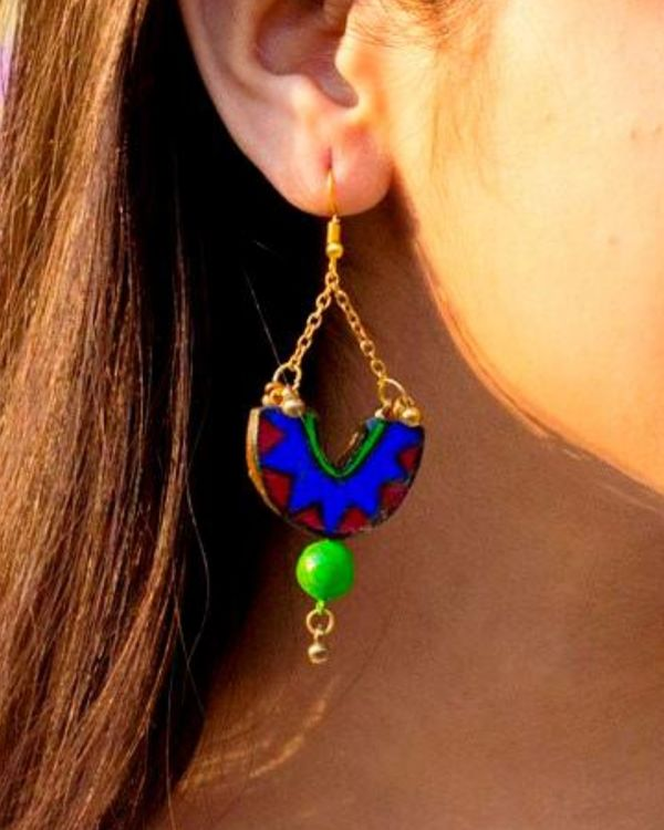 Blue hand painted dome shaped earring 1