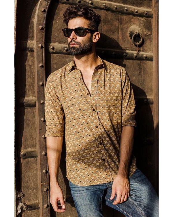Dusty yellow ajrakh printed shirt 1