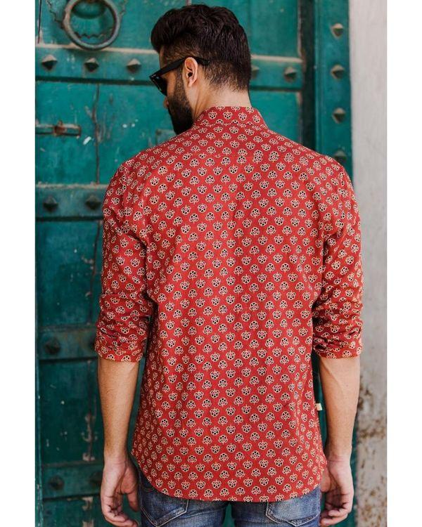 Red ajrakh floral printed shirt 2