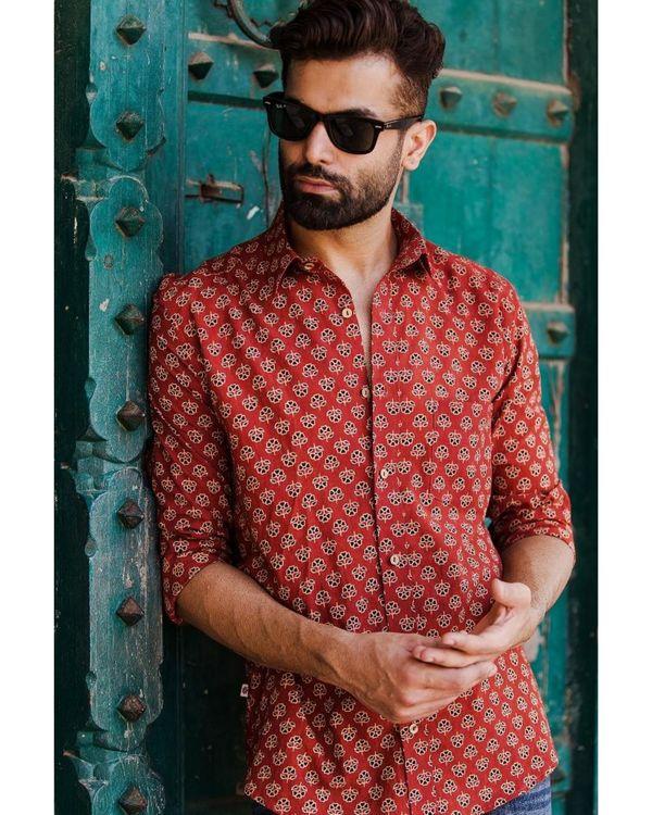 Red ajrakh floral printed shirt 1