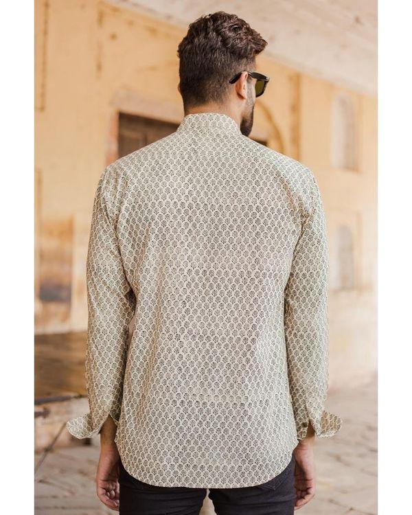 Light beige and black bagru shirt 2