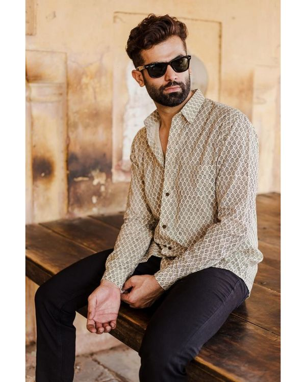 Light beige and black bagru shirt 1