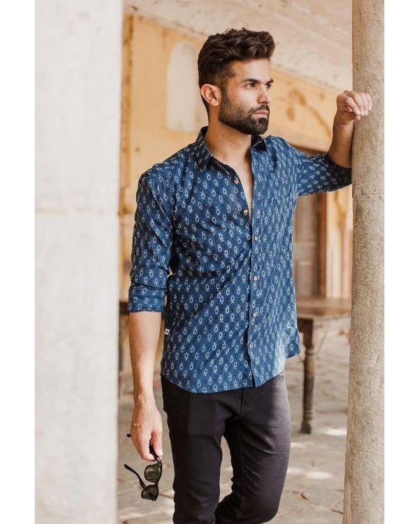 Blue ajrakh fish printed shirt 2