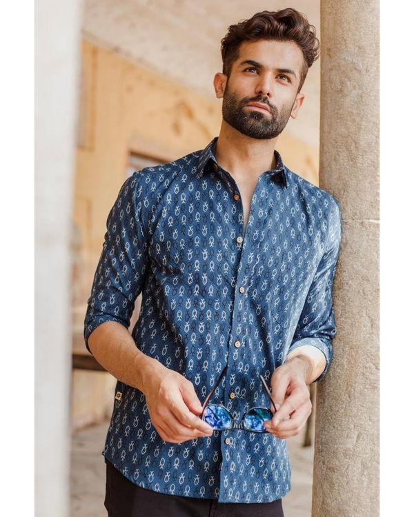 Blue ajrakh fish printed shirt 1
