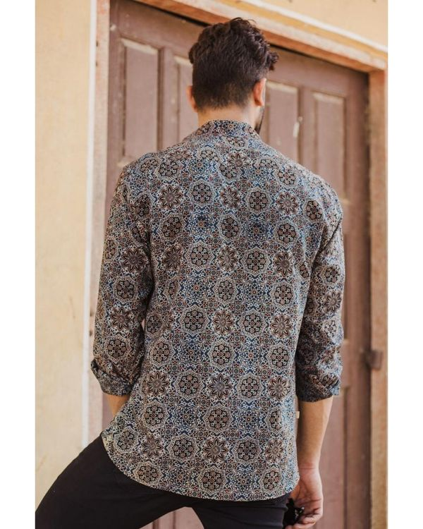 Blue and black ajrakh printed shirt 3