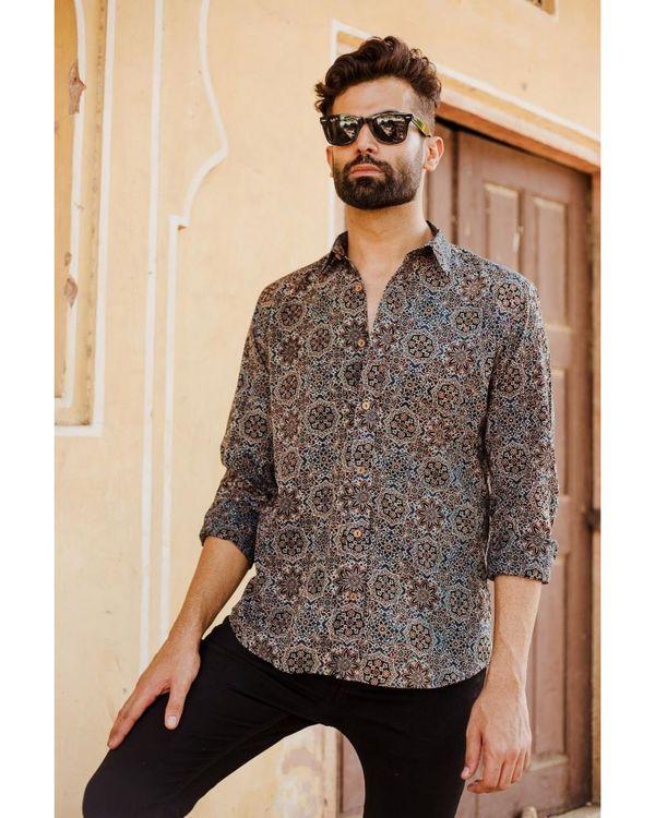 Blue and black ajrakh printed shirt 2