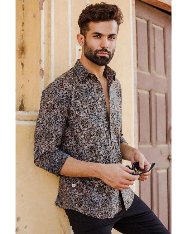 Blue and black ajrakh printed shirt 1