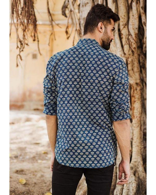 Blue and black ajrakh floral printed shirt 2