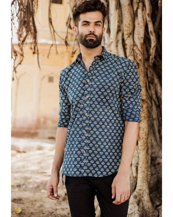 Blue and black ajrakh floral printed shirt 1