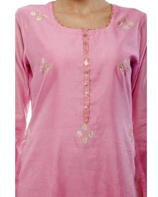 Pink Chanderi straight kurta set 1