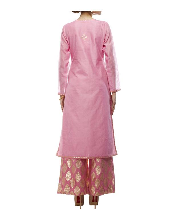 Pink Chanderi straight kurta set 2