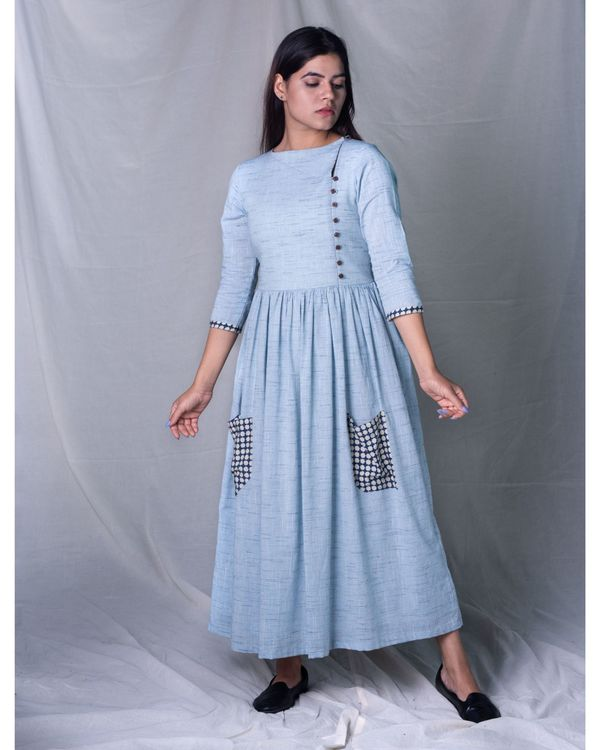 Blue gathered pocket dress 2