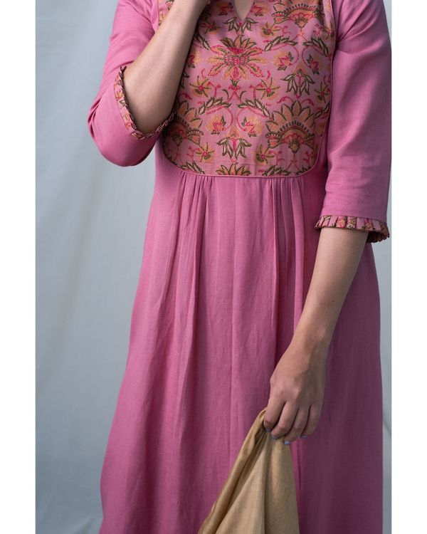 Pink printed gathered yoke kurta and pants - Set Of Two 1