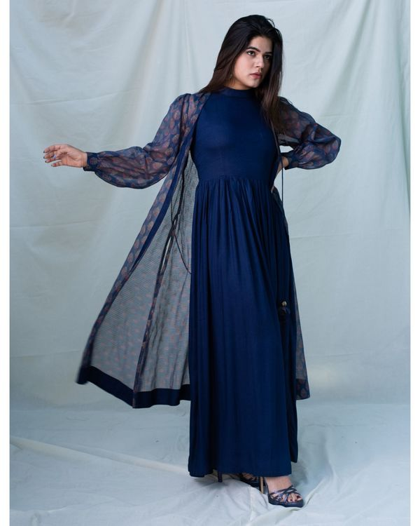 Navy blue printed kota doria jacket and gathered dress - Set Of Two 1
