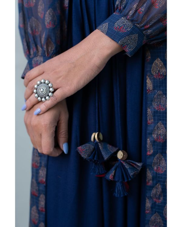 Navy blue printed kota doria jacket and gathered dress - Set Of Two 2
