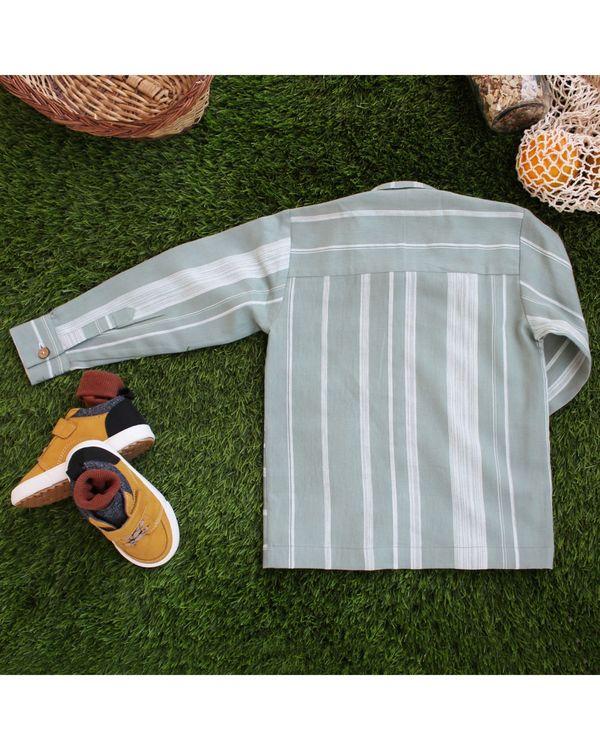 Green contrast striped shirt 2