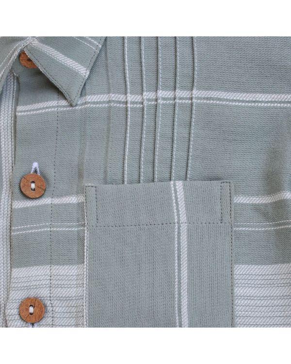 Green contrast striped shirt 1