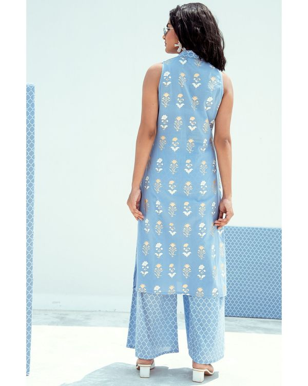 Blue floral printed mandarin kurta 2